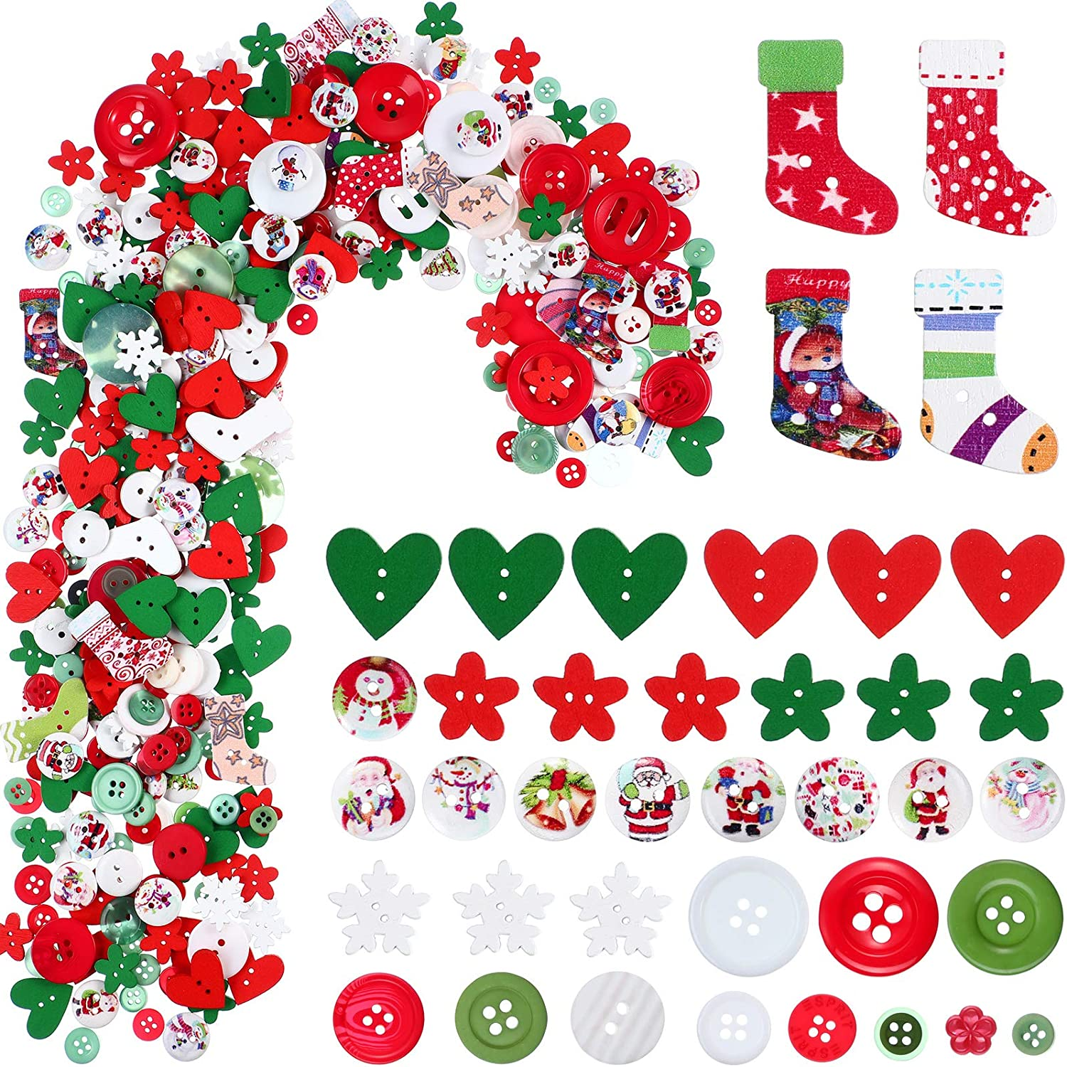 515 Pieces Christmas Wooden Buttons Craft Buttons Christmas Embe
