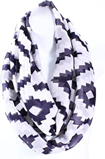 AN - Lightweight Big Chevron Zigzag Square Print Infinity Scarf Snood Loop