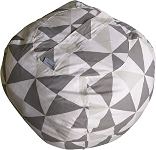 JaxGizmos Fill n Chill Stuffed Animal Storage Bean Bag Chair to Tame The Growing Pile of Stuffies, Doubles as a Kids Chair or an Ottoman for Extra Storage (XL, Grey)