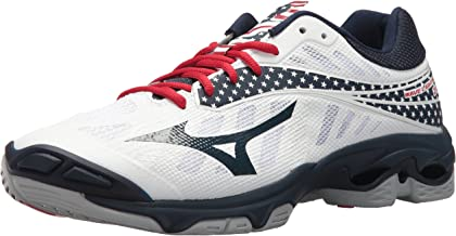 Mizuno Wave Lightning Z4 Volleyball Shoes, White/Navy/red, Men's 9.5 D US