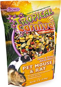 F.M. Brown's Tropical Carnival Gourmet Pet Mouse and Rat Food with Fruits - Veggies, Seeds, and Grains, Vitamin-Nutrient Fortified Daily Diet - 2lb