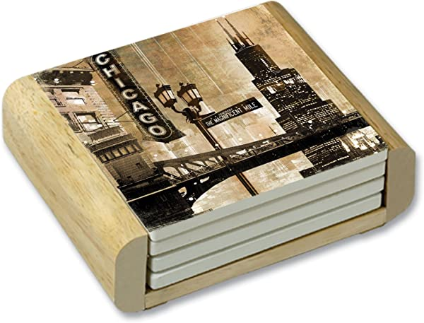 CounterArt Chicago Nighttime Scene Absorbent Coasters In Wooden Holder Set Of 4
