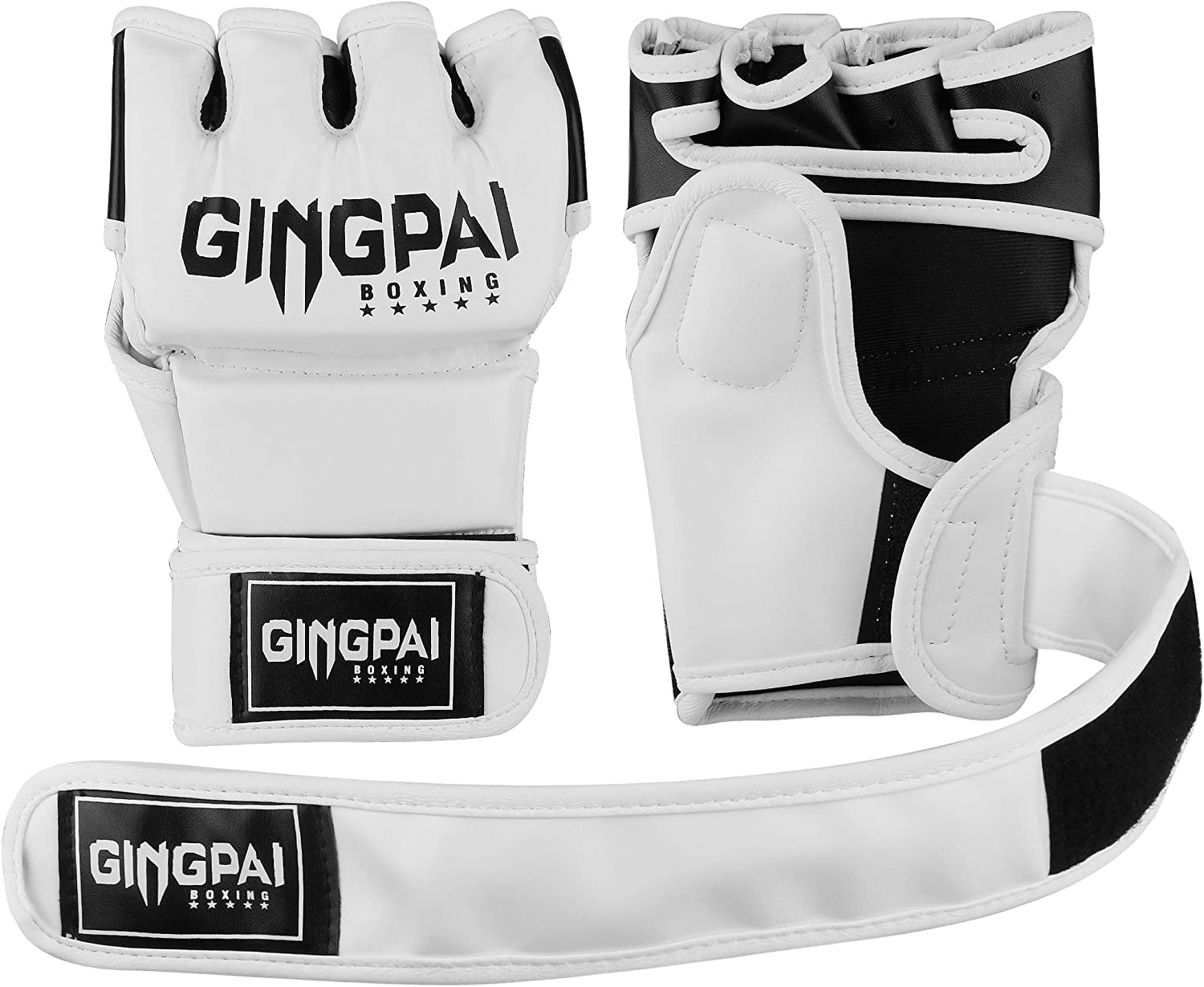 GINGPAI BOXING MMA UFC Gloves for Men Women Fingerless Punching Heavy Bag with More Paddding Gloves for Kickboxing Muay Thai Sparring
