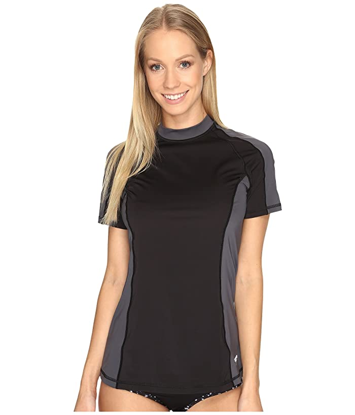 Speedo Solid Short Sleeve Rashguard (Speedo Black) Women