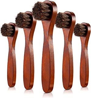 5 Pack Dauber Brush Shoes Polish Brush Horsehair Wooden Care Shine Polish Handle Clean Dauber for Shoes and Bags (Brown)