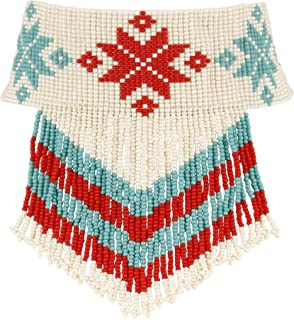 El Allure Seed Bead Native American Navajo Preciosa Jablonex Seed Beaded Red, Off White And Turquoise Choker With Floral Pattern Handmade Personalized Delicate Costume Fashion Unique Necklace for Wome