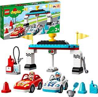 LEGO 10947 DUPLO Town Race Cars Toy for Toddlers 2 + Years Old, Push and Go Racer Vehicles Set for Preschool Kids