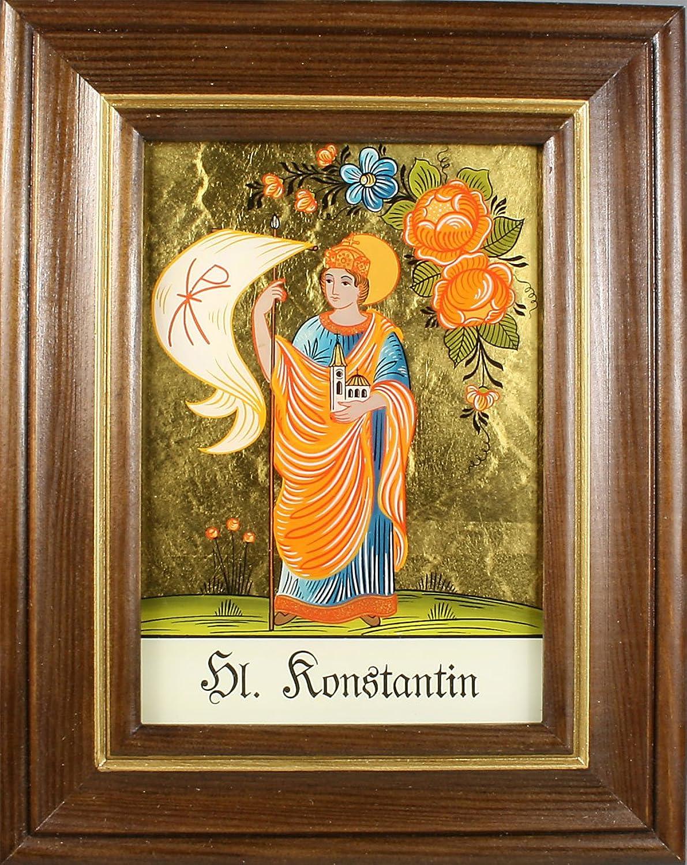 Hinterglaswerksttten - Hinterglasbild   Patronatsbild  Hl. Konstantin  mit braun gebeizten Holzrahmen, handbemalt mit Legende des Heiligen auf der Bildrückseite, ca. B  12,5 x H  16 cm