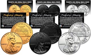 Commemorative WWII 1943 Steel Penny Coins 3 Versions BLK Ruthenium/GLD/SLV with CERTIFICATES