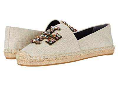 Tory Burch Ines Embellished Espadrille (Natural/Perfect Black/Gold) Women