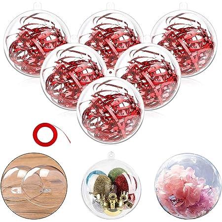Amazon Com Philonext Bolas Transparentes Para Decoración De Navidad 20 Bolas De Decoración De Navidad Rellenables De Plástico Para Manualidades Bolas De árbol De Navidad Regalos Para Año Nuevo Decoración De Bodas