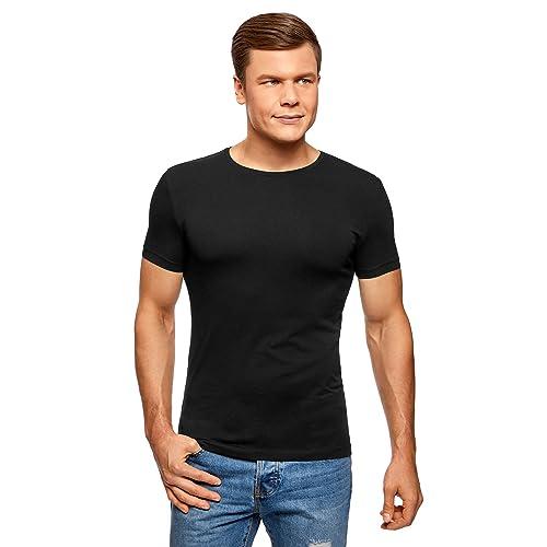 ad9b52ec0b5aa oodji Ultra Hombre Camiseta sin Etiqueta Básica (Pack de 2)