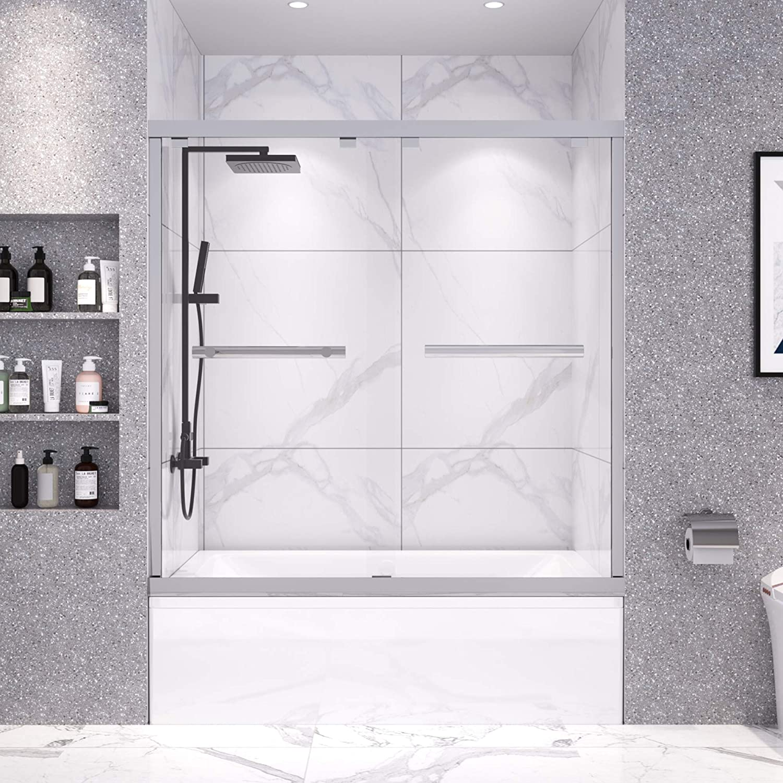 DELAVIN 56-59 in. Frameless Sliding Tub Direct stock discount Max 79% OFF Bypas Shower Door