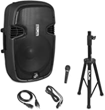 Bluetooth Active-Powered Loudspeaker Kit - Wireless Streaming PA Speaker System   FM Radio   Speaker Stand   Wired Microphone   15'' Subwoofer (AZPPHP155ST)