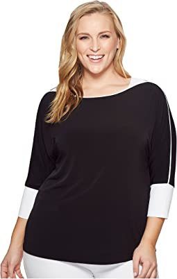 Plus Size 3/4 Sleeve Dolman Top with Trim