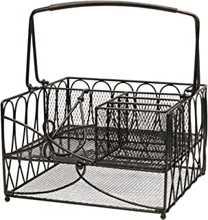Gourmet Basics by Mikasa 5228875 Loop Picnic Plate Napkin and Flatware Storage Caddy, Large, Antique Black