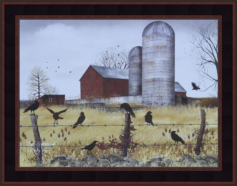 BARN OWL by Billy Jacobs 12x28 Full Moon Fence Post Autumn Fall FRAMED WALL ART