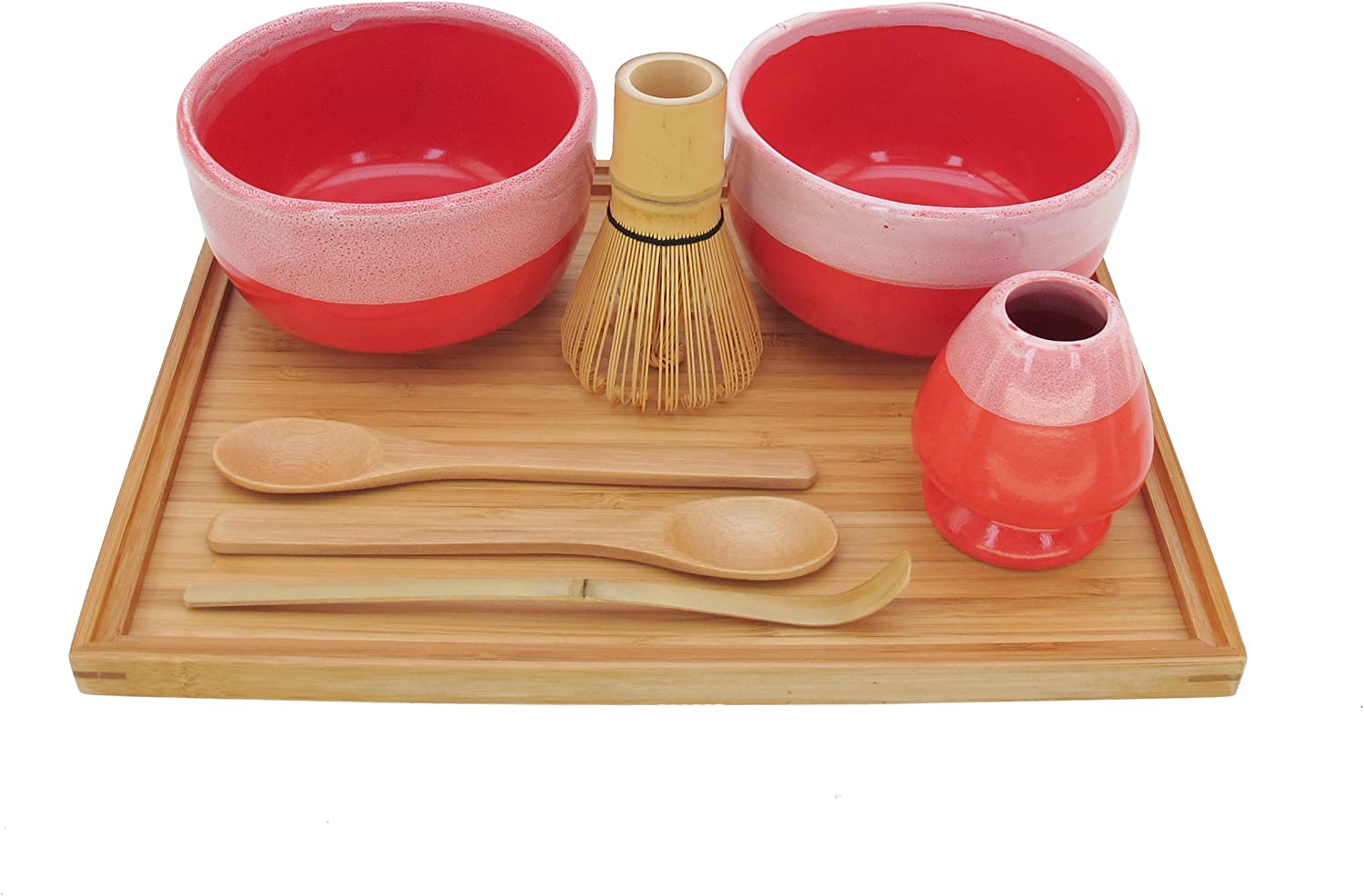 Includes Bowl /& Rest Matcha Bowl Set BambooMN Brand 1 Set Coral