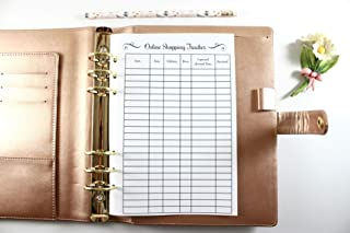 A5 Size Planner Online Shopping Tracker Inserts, A5 Size Online Shopping Tracker Inserts Fits with Kate Spade A5, Louis Vuitton GM, Carpe Diem, Color Crush, Filofax (Planner Sold Separately)