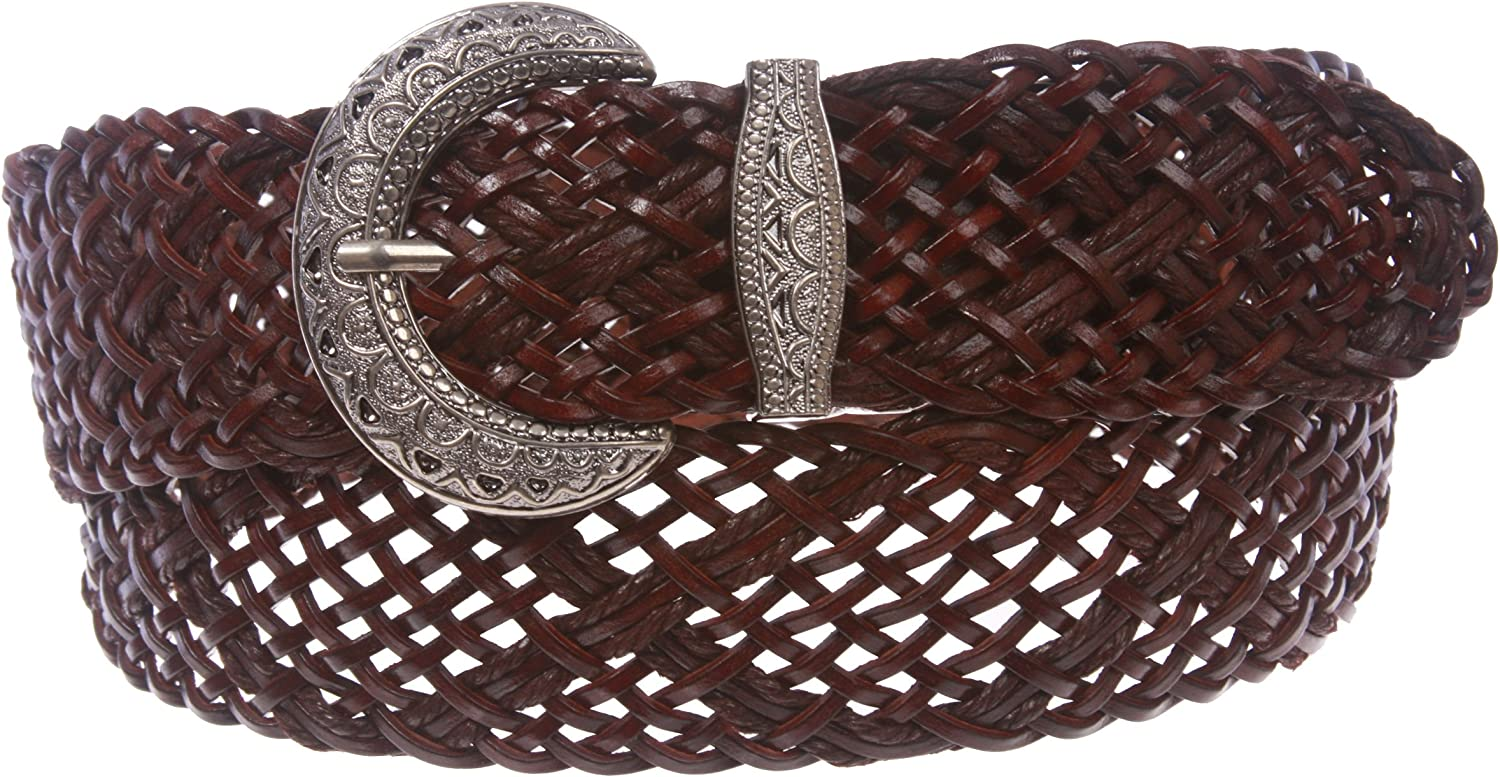 2 Inch Wide Braided Woven Perforated Belt, Brown   one size   39  43