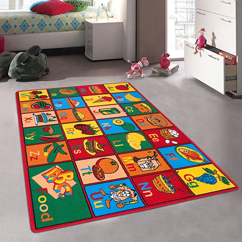 Kids Baby Room Daycare Classroom Playroom Area Rug Alphabet Foods Fruits Vegetables Educational Fun Non Slip Back Bright Colorful Vibrant Colors 5 Ft X 7 Ft