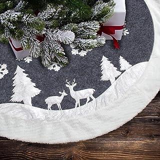 7Felicity Christmas Tree Skirt, Fur Rustic White Xmas Tree Skirt,Snowy Christmas Trees Mat Decorations Indoors,Deer and Snowflake Pattern (36 inches, Two Deers)