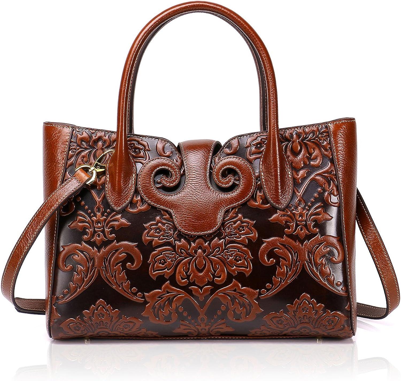 APHISON Designer Tote Bags Genuine Leather Women Embossed Handbag Rero Shoulder Bags for Ladies 91776 Brown