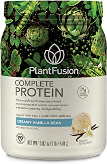 PlantFusion Complete Organic Plant Based Pea Protein Powder   Fermented Superfoods   Vegan, Gluten Free, Non Dairy, Soy Free, Vanilla, 1 LB