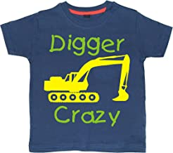 Childrens Navy hoodie with yellow and green print /'DIGGER CRAZY/'