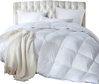 Luxurious Full/Queen Size Siberian Goose Down Comforter, Duvet Insert, 1200 Thread Count 100% Egyptian Cotton, 750+ Fill Power, 60 oz Fill Weight, 1200TC, White Solid