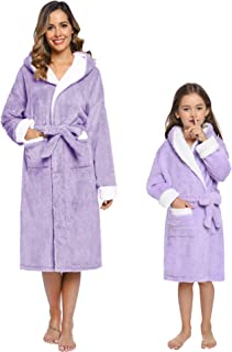 Hooded Plush Fleece Robe for Women and Kids Warm Shawl Collar Contrast Color Family Mathing Bathrobe