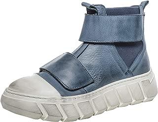 Lofina Women's Leather Flatform Boots Blue