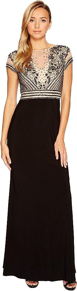 Short Sleeve Beaded Top and Jersey Skirt Dress