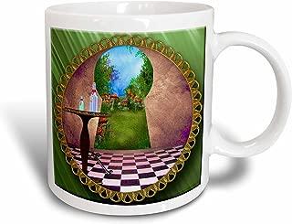 3dRose 128860_1 Through The Keyholes Alice In Wonderland Art Checkered Floor Bottle Of Magic Water Mug, 11 oz, Ceramic