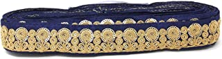Inhika 9 Yard lace Border Trim for Women Saree Dupatta Colour Navy Blue Gold on Raw Silk Material 3.5 cm Wide Embroidery, Sequins Flat Trim