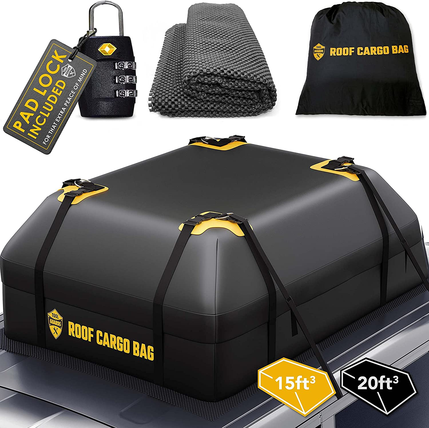 Rooftop Cargo Carrier for Top of Vehicle - Car Top Carrier Roof Bag 15 or 20 Cubic for Cars with or Without Racks : Automotive