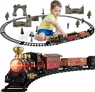 Baby Home Children Metal Alloy Train Set, with Steam Locomotive Engineer, Freight Car, Track, & Smoke, Lights & Sounds, Su...