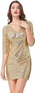 Kate Kasin Women's Sequin V-Neck 3/4 Sleeve Bodycon Cocktail Club Dress KK001037