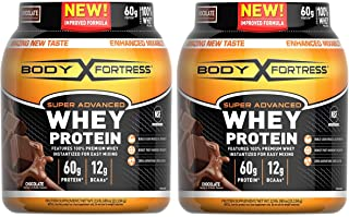 Body Fortress Super Advanced Whey Protein Powder, Gluten Free, Chocolate Flavor, 2 Pound, Pack of 2