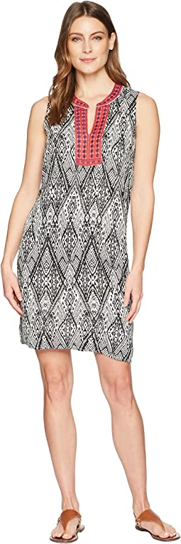 Printed Dress Contrast Trim with Sleeveless