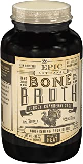 EPIC Turkey Cranberry Sage Bone Broth, Whole30, Paleo Friendly, 14fl oz Jar