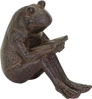 Benzara Quite Reading Garden Frog Statue, Polystone