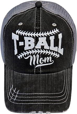 White Glitter T-Ball Mom Distressed Grey Trucker Cap Sports Baseball