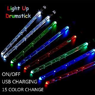 Vhffoso Glow In The Dark Drumsticks For Kids Drummer Gifts Light Up Drum Sticks Color Change Glow Plastic Drum Sticks LED Drum Sticks for Adults Drum Accessories Personalized Drum Sticks for Drum