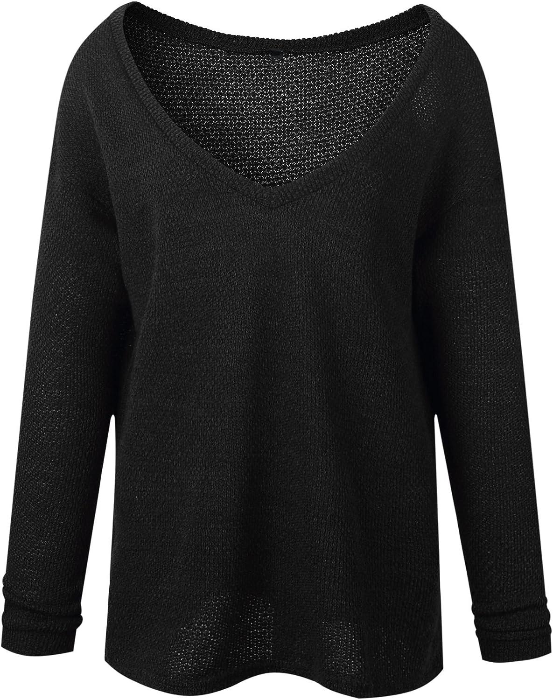 REFAGO Fashion Long-Sleeved V-Neck Sweater, schwarz