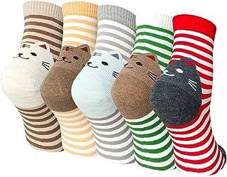 Calcetines de Animales Lindos Mujer Calcetines de Divertidos Ocasionales, Mujer Novedad Calcetines de Gato, 5/6 Pares, EU 37-42