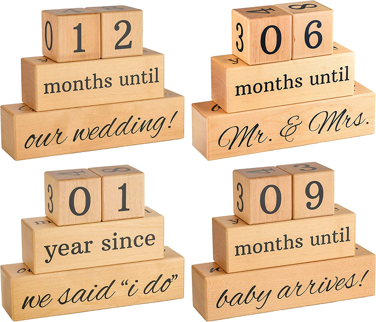 Solid Special Campaign Maple Wood Max 81% OFF Wedding Countdown Arrival B Anniversary Baby