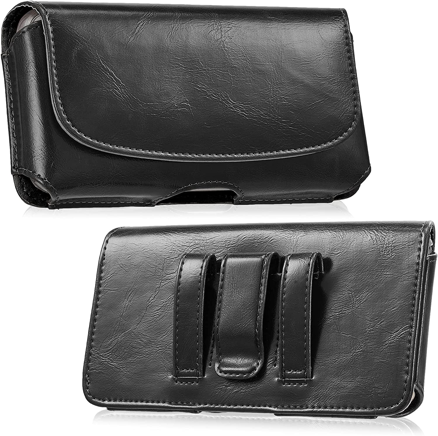 Universal Premium Horizontal Leather Case Pouch Holster w/Magnetic Closure w/Belt Clip Holster and Belt Loops for iPhone 12/11 Pro Max, iPhone Xs Max/ XR / 11 / 12 fit 6.7 inch Mobile Phone(Black)