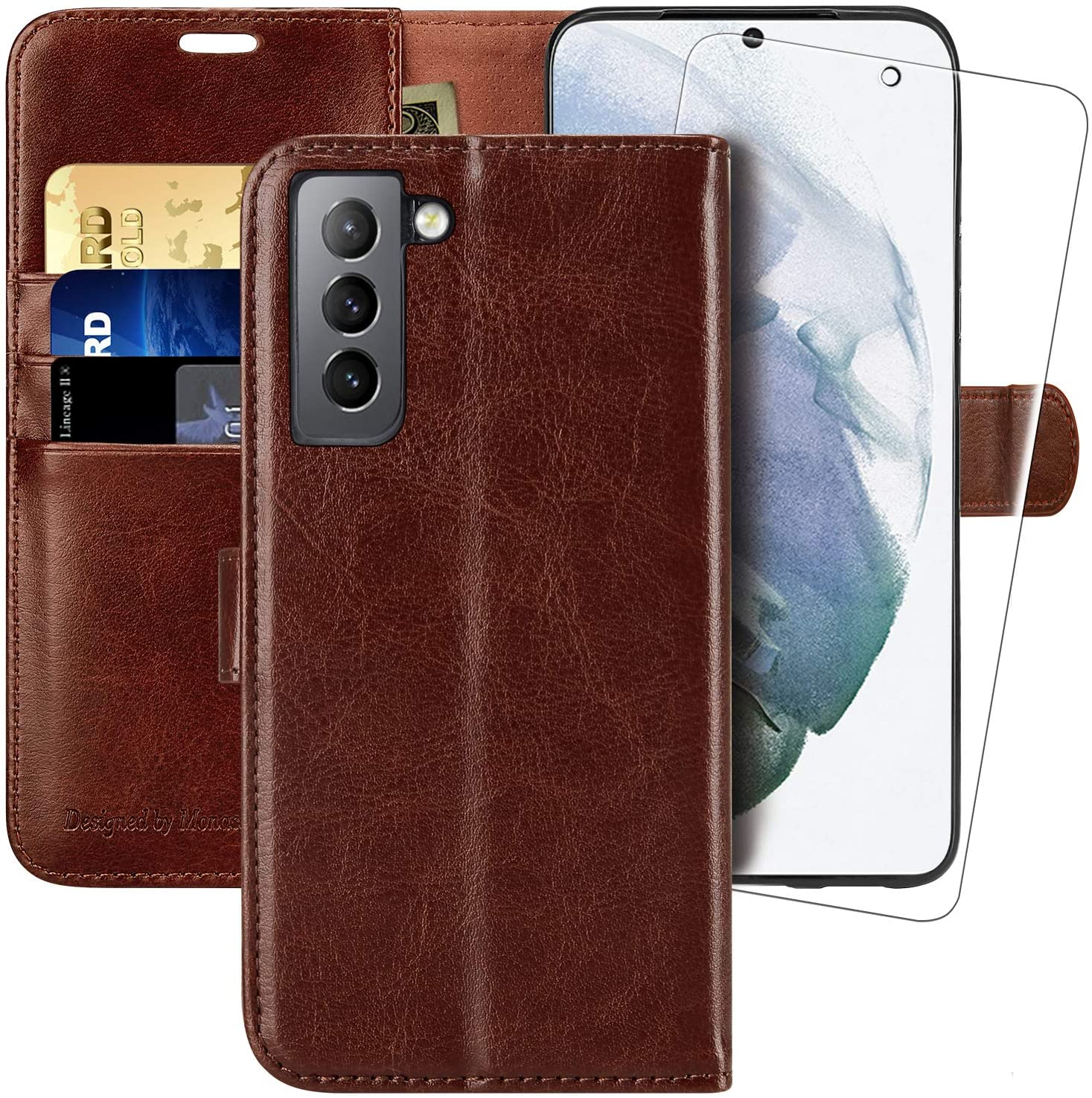Galaxy S21 5G Wallet Case,6.2 inch,MONASAY [Included Screen Protector] Flip Folio Leather Cell Phone Cover with Credit Card Holder for Samsung Galaxy S21 5G