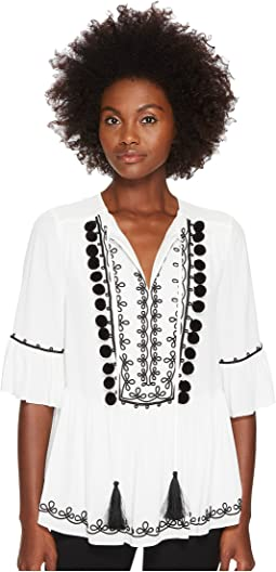 Kate Spade New York - Pom Embroidered Top